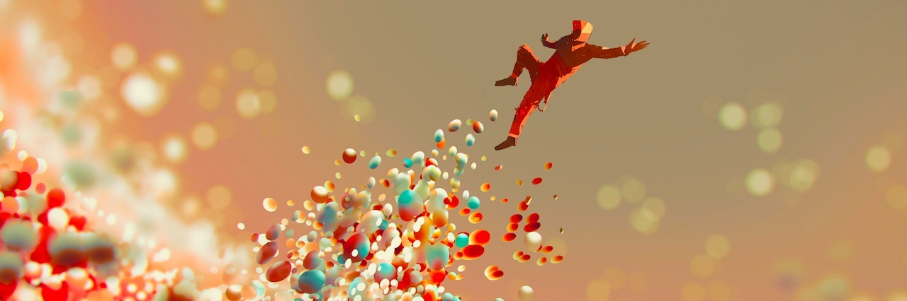 man jumping up from lot of colorful balls,illustration art