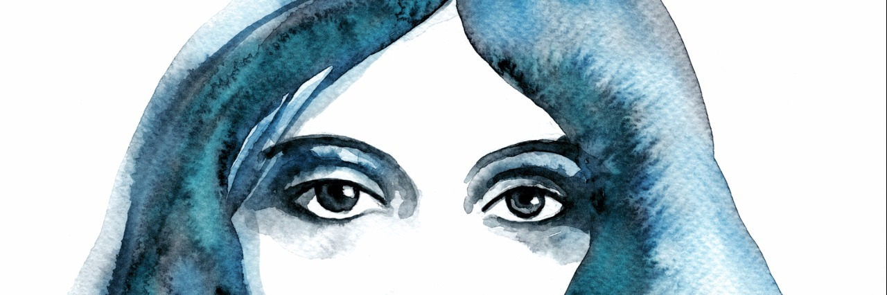 A watercolor painting in blue shades of a womans face.