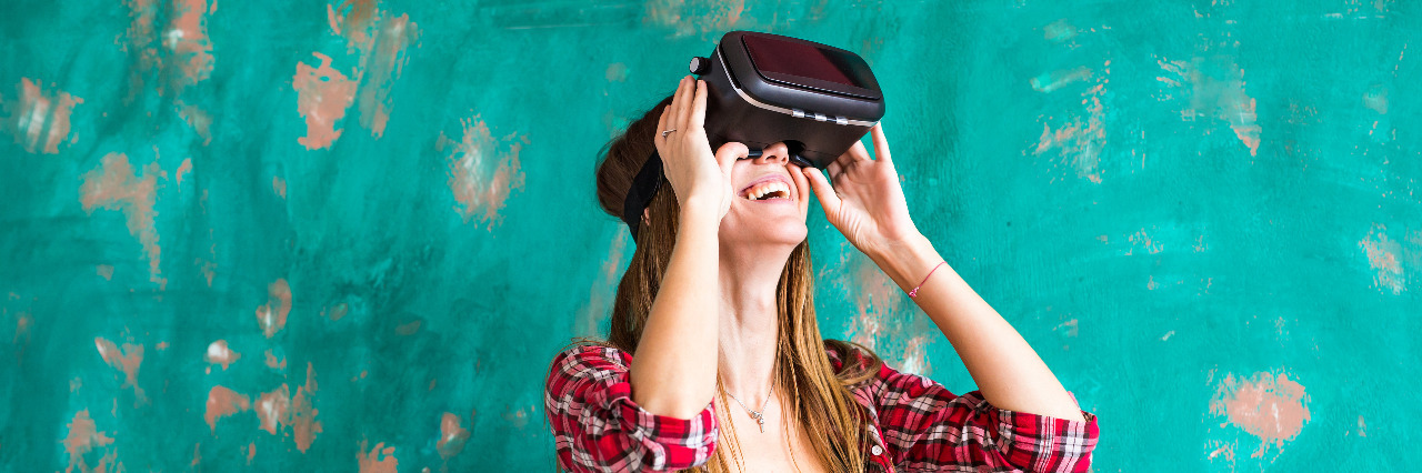 Woman in virtual reality headset.