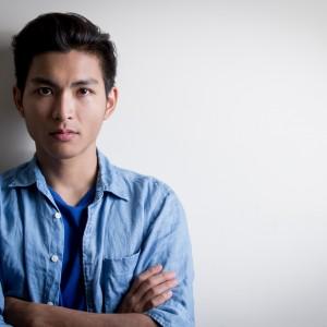 handsome man wear denim shirt
