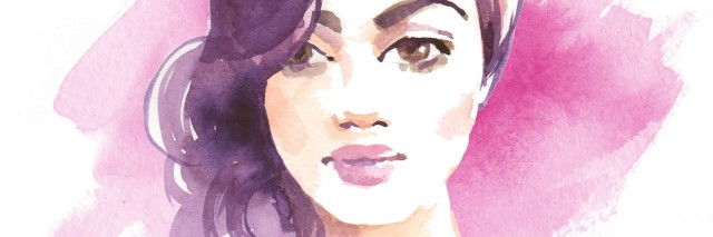 Brunette girl. Watercolor sketch. Female face