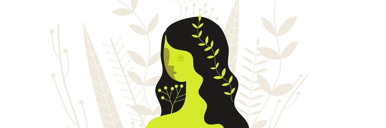 Floral girl vector illustration.