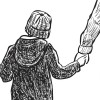 Illustration of child holding mother's hand