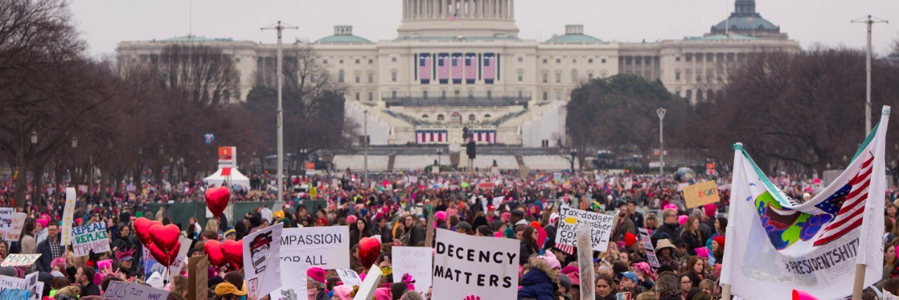 women's march in washington protestors in front of capitol