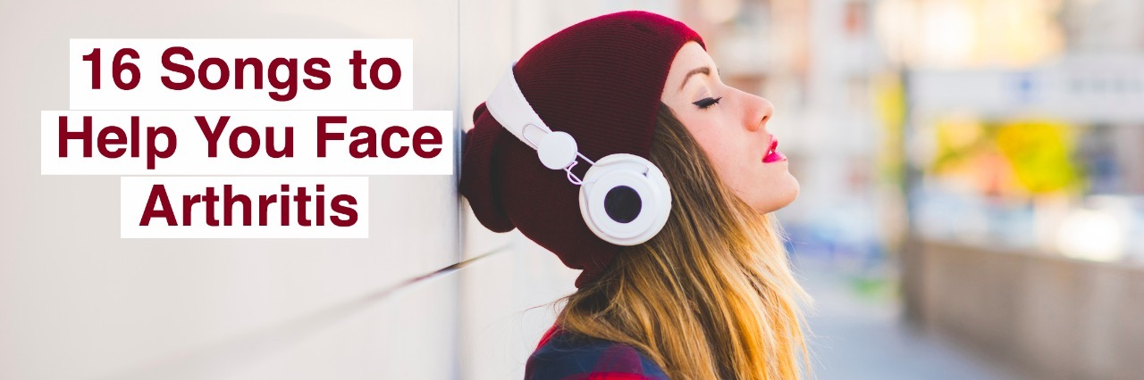 woman listening to headphones with text 16 songs to help you face arthritis