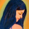 woman with long hair looking down, in pastel