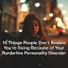 Woman standing on a street in the dark. text reads: 18 things people don't realize you're doing because of your borderline personality disorder