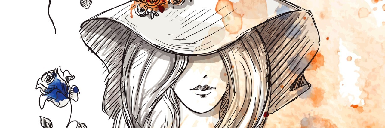 girl in a hat on a watercolor background.