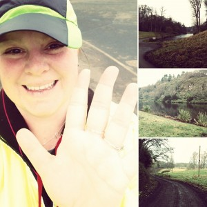 marlene wearing a hat and running outside next to pictures of roads and nature where she runs