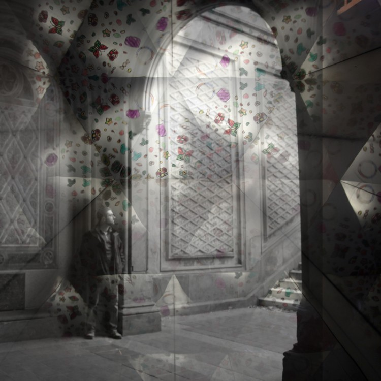 a double exposure of a doorway on a background of flowers