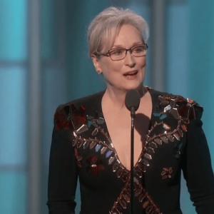 Meryl Streep at Golden Globe awards calling out Donald Trump for mocking people with disabilities.