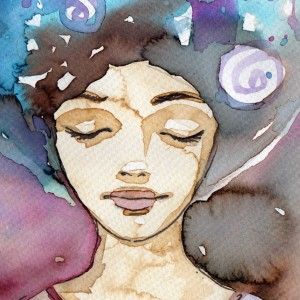 watercolor portrait of woman closing her eyes