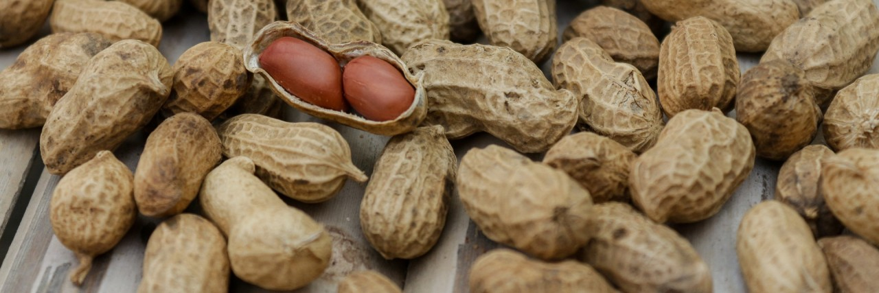 a photo of peanuts in their shells.
