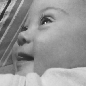 Black and white photo of baby girl