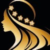 illustration vector of women silhouette golden icon, women face logo with flower on black background