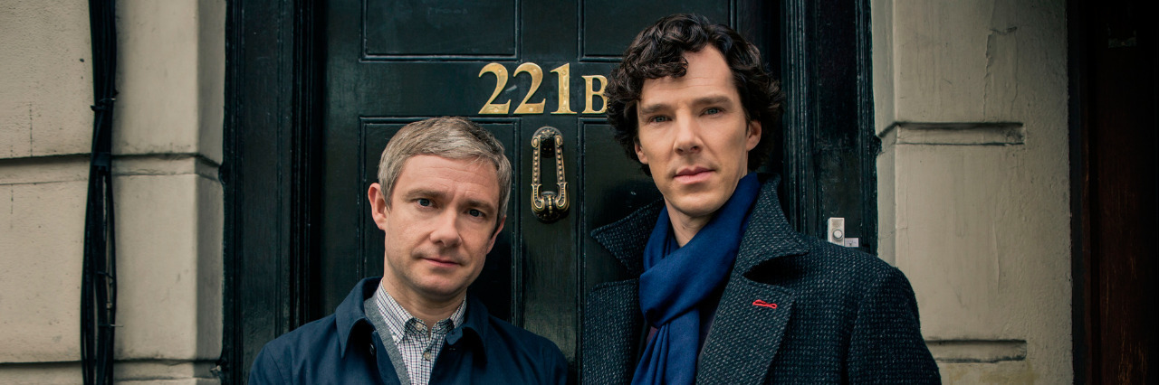 Dr. Watson and Sherlock Holmes from the TV show 'Sherlock.'