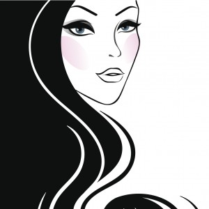 silhouette of woman's face and hair, half black and half white