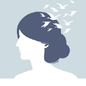 Vector illustration of Dream Head. Girl with flying birds.