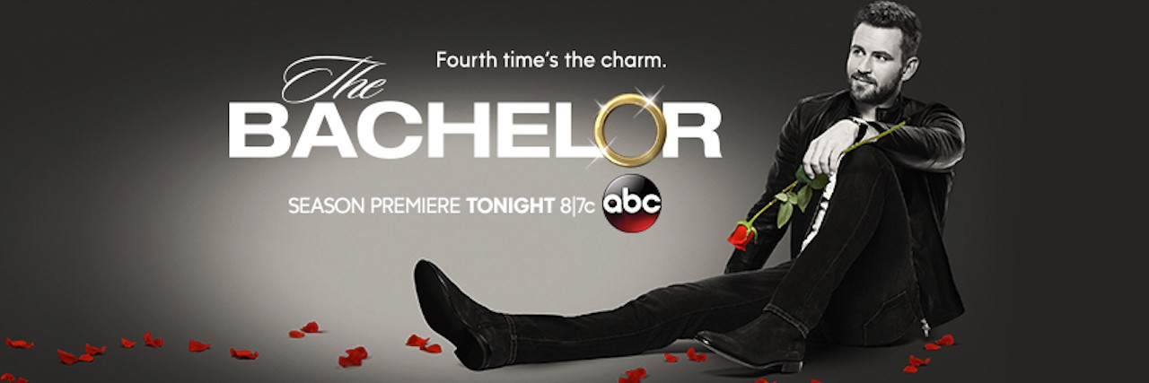 Promo for The Bachelor. Man in a suit holding a rose.