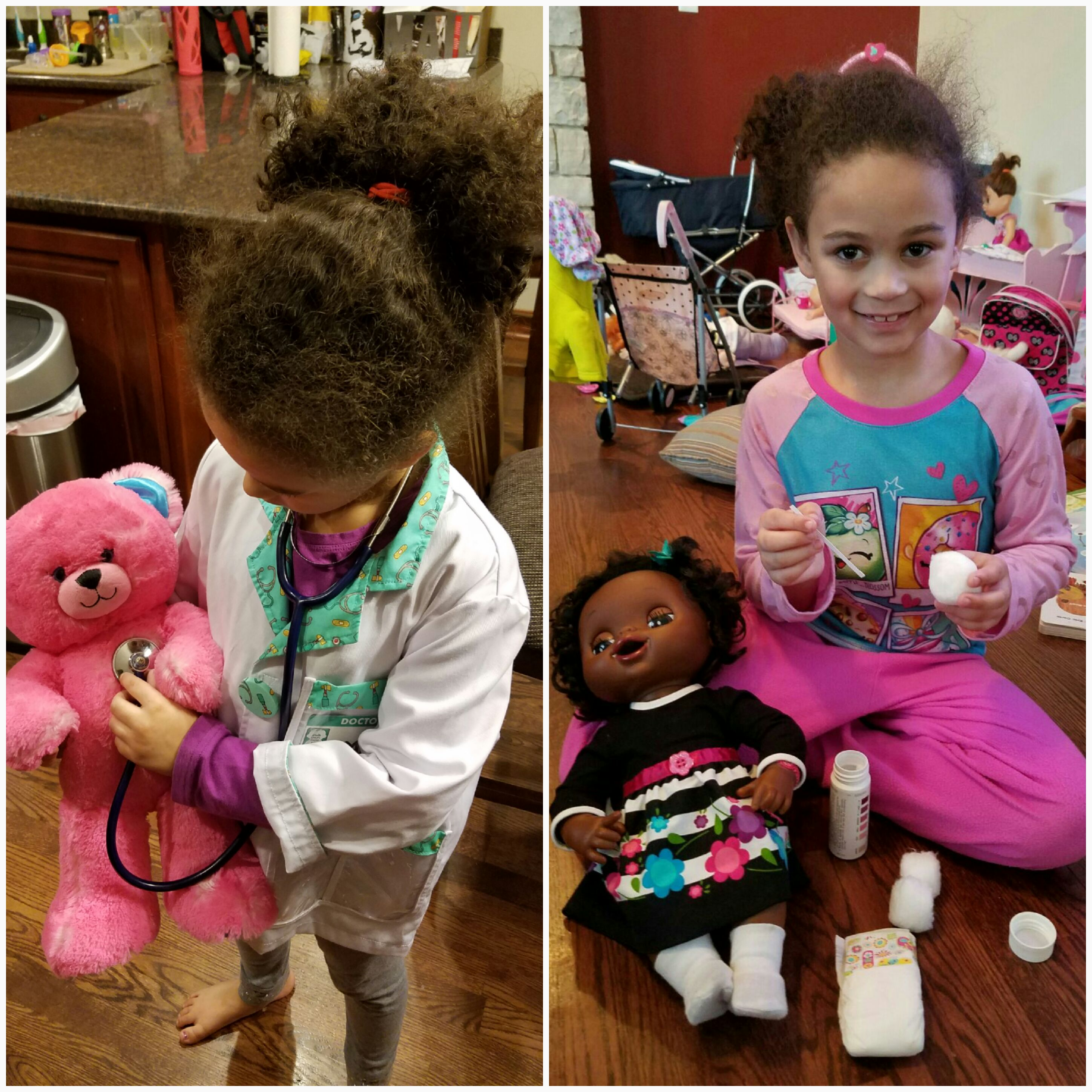 kids playing doctor with toys