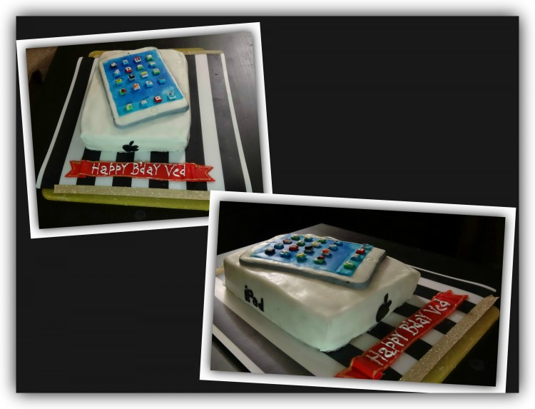 cake with picture of iPad on top made with frosting