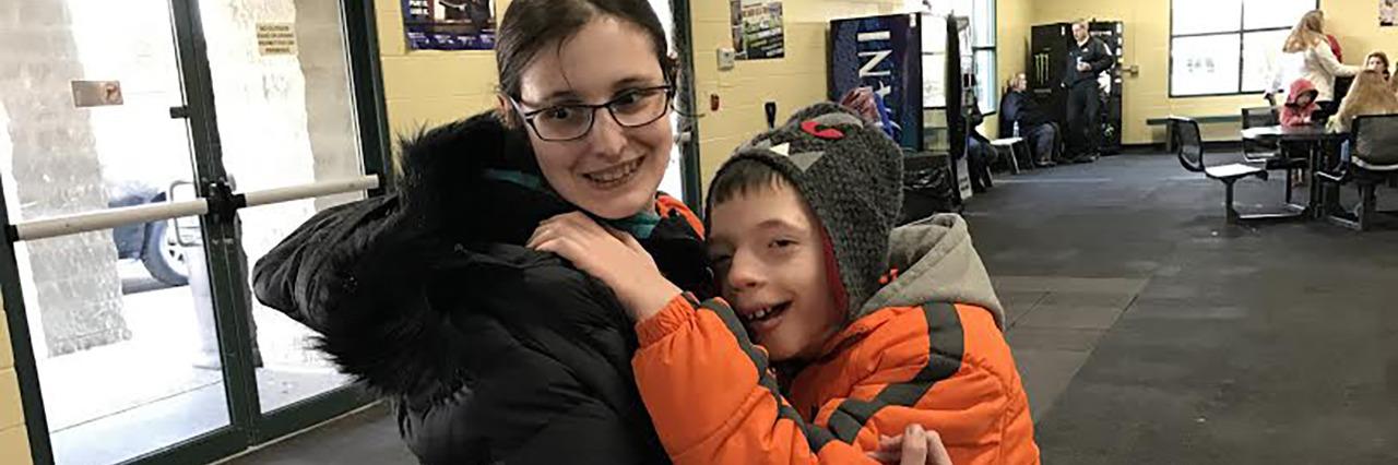 Chloe with her friend Josh.