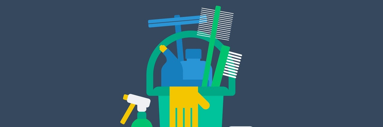 illustration of a bucket full of cleaning supples.