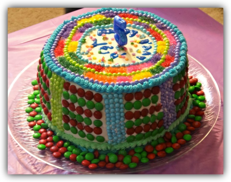 Homemade cake with colorful candy and chocolate pieces
