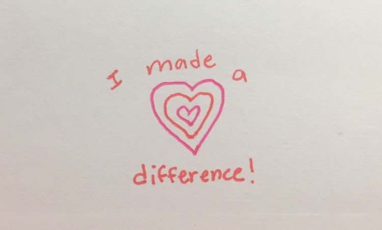 'I made a difference' written on paper