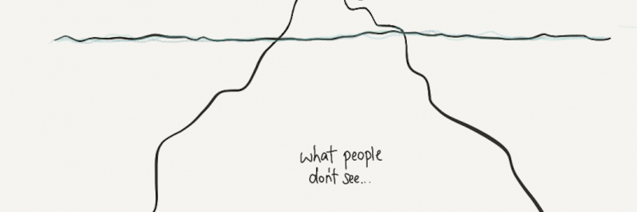 iceberg with part below water labeled what people don't see and part above water what people see