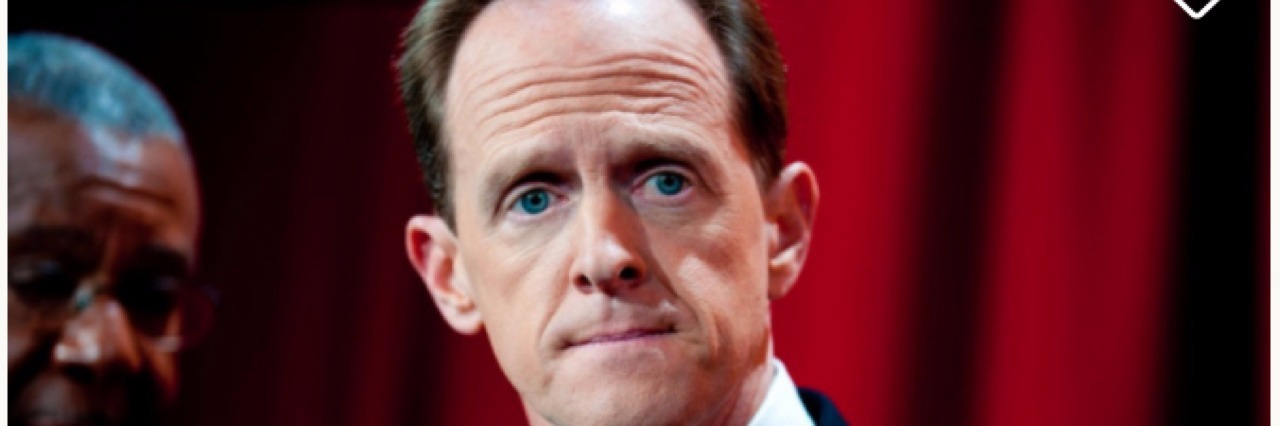 "Photo of Pat Toomey with text ""Buy Pat Toomey's Vote"""