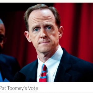"Photo of Pat Toomey with text ""Buy Pat Toomey's Vote"""