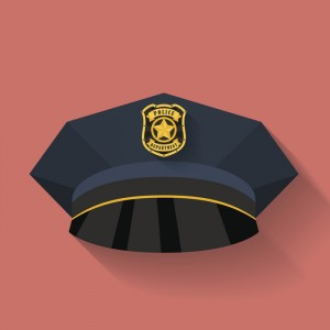 Icon of Police hat, cop hat. Flat style