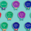 An assortment of Everyday Bravery Pins on a teal blue background.