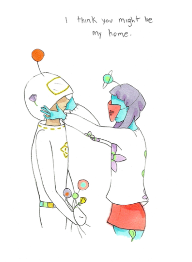 A person lifts up the helmet of the spaceman. Text reads: I think you might be my home.