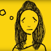 Drawing of a woman with a thought bubble. Inside the thought bubble are images of spiders.