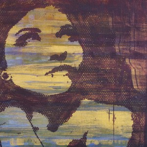 purple and yellow oil painting of woman's face looking up