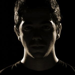 Silhouette of man's face