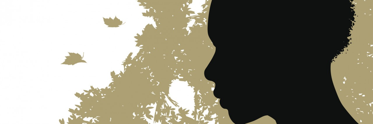 Vector illustration of an african american Woman and Tree Motif in the background.