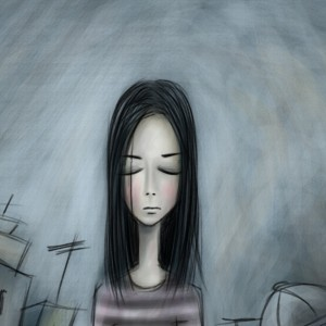 Illustration of woman with eyes closed, on city street with buildings in the background