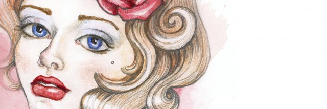 illustration of a woman with blonde hair and a rose in her hair