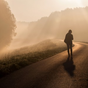 Woman walking on a road in the morning fog