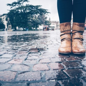 woman wearing rainboots
