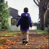 Boy wearing backpack, walking on leaf-covered path in the fall