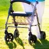 Woman using a rolling walker.