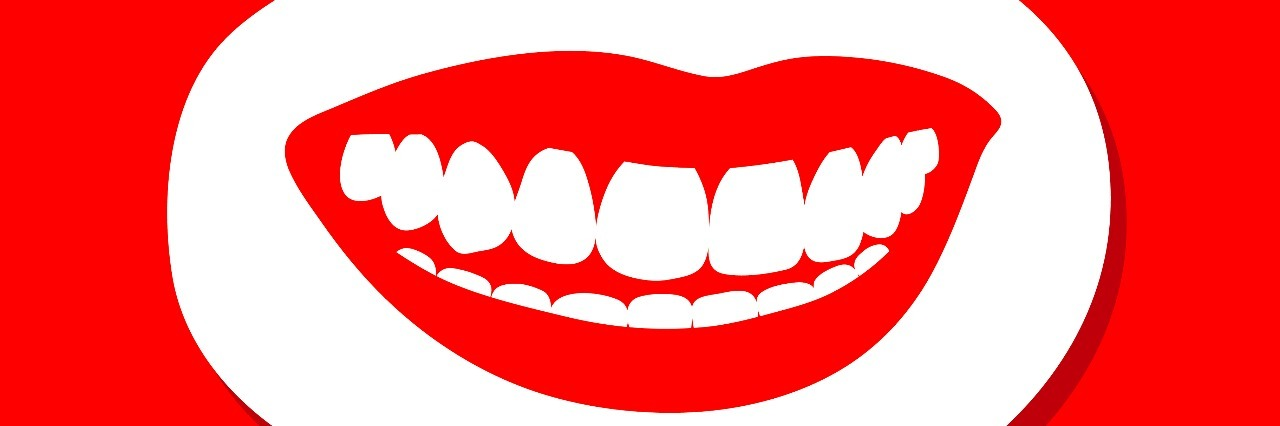 Female mouth with luscious red lips and a toothy smile showing brilliant white teeth inside a speech bubble on a red background