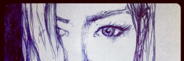 drawing of a woman's face in purple pen