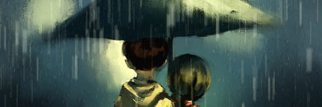 Couple walking in rainy, watercolor illustration