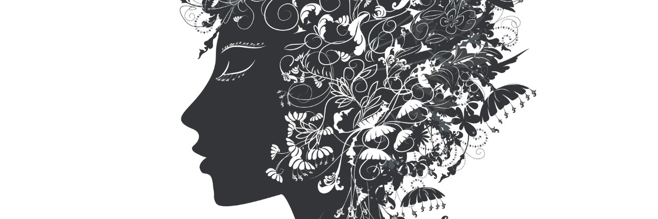 girl with flower hair covered ornaments, flora,black and white, fairy, vector