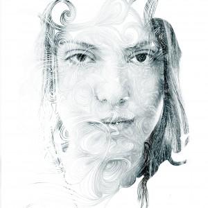 Double exposure portrait of a woman.